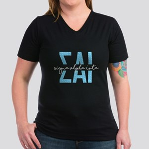 Sigma Alpha Iota Polka Women's V-Neck Dark T-Shirt