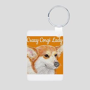 Crazy Corgi Lady Aluminum Photo Keychain