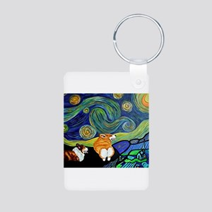 Corgi Starry Starry Night Aluminum Photo Keychain