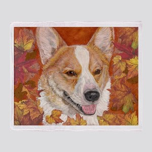 Fall Corgi Throw Blanket