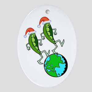 Christmas Peas on Earth Ornament (Oval)