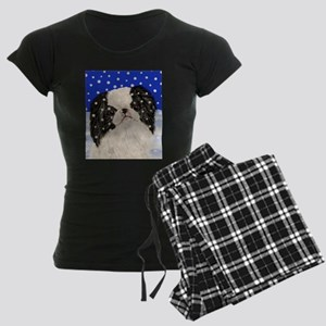 Snowflakes japanese chin Women's Dark Pajamas