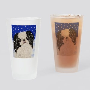 Snowflakes japanese chin Drinking Glass