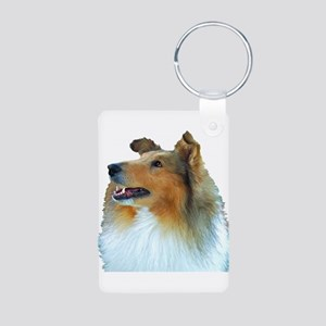 Collie Portrait Aluminum Photo Keychain