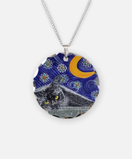Starry night black cat Necklace