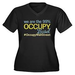 Occupy Basel Women's Plus Size V-Neck Dark T-Shirt