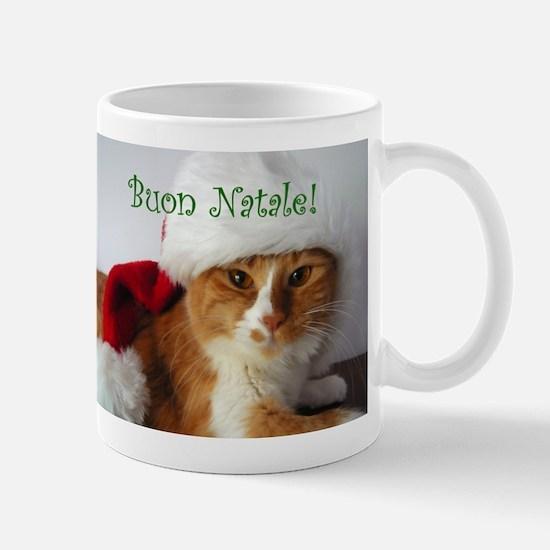 Italian Greeting Santa Cat Mug