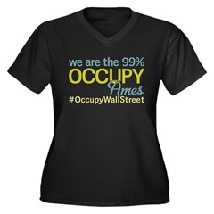 Occupy Ames Women's Plus Size V-Neck Dark T-Shirt