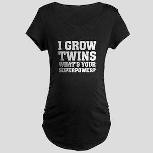 I Grow Twins Maternity Dark T-Shirt