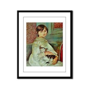 Renoir's Girl with Cat Framed Panel Print