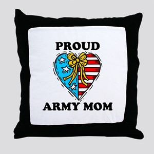 Army Mom Patriotic Heart Throw Pillow
