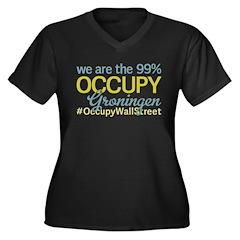 Occupy Groningen Women's Plus Size V-Neck Dark T-S