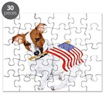 Jack Russell With USA Flag Puzzle