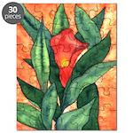 Red Calla Lily Watercolor Puzzle