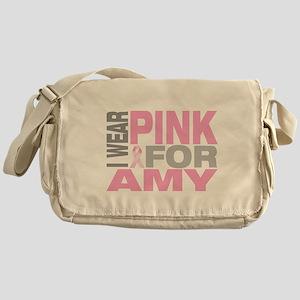 I wear pink for Amy Messenger Bag