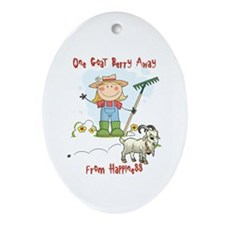 Funny Goat Berries Ornament (Oval)