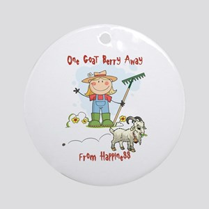 Funny Goat Berries Ornament (Round)