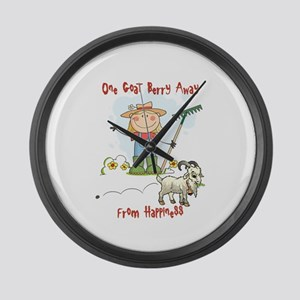 Funny Goat Berries Large Wall Clock