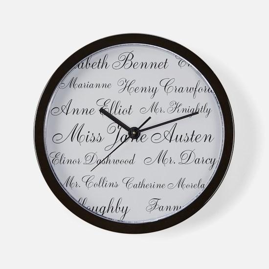 Jane Austen (silver) Wall Clock