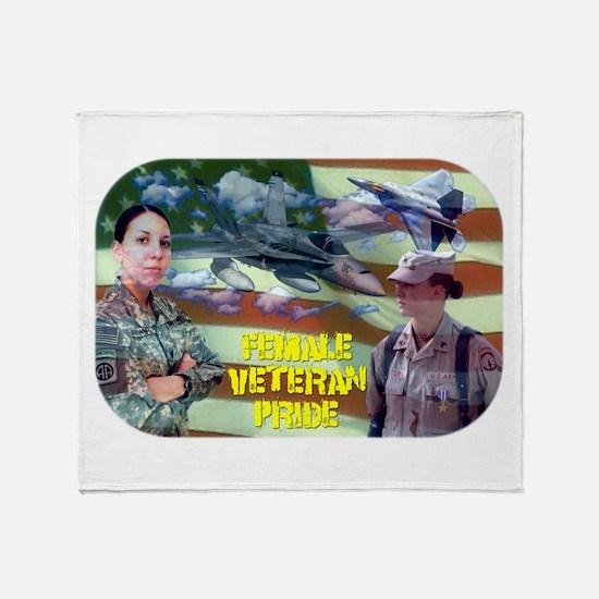 Female Veteran Pride Throw Blanket