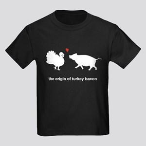 Origin of Turkey Bacon Kids Dark T-Shirt