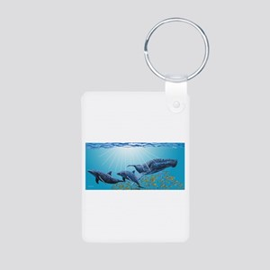 Humpback & Dolphins Aluminum Photo Keychain