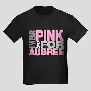 I wear pink for Aubree Kids Dark T-Shirt