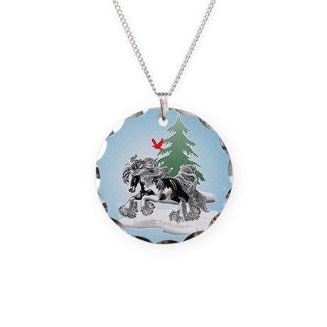 Gypsy Vanner Winter Necklace Circle Charm