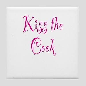 Kiss The Cook Tile Coaster