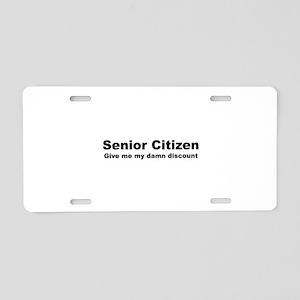 Senior Citizen Discount Aluminum License Plate