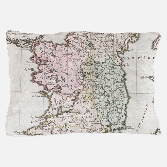 Vintage Map of Ireland (1766) Pillow Case