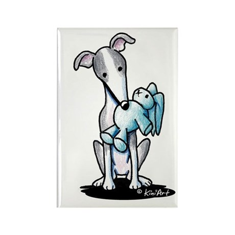 Rabbit Lover Greyhound Rectangle Magnet (100 pack)