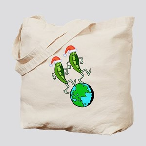 Christmas Peas on Earth Tote Bag