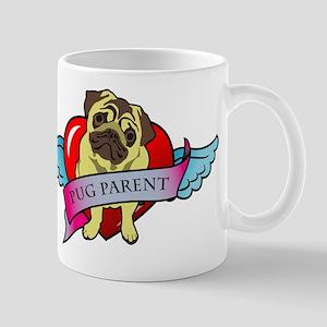Pugs Banner Heart & Wings - P Mug