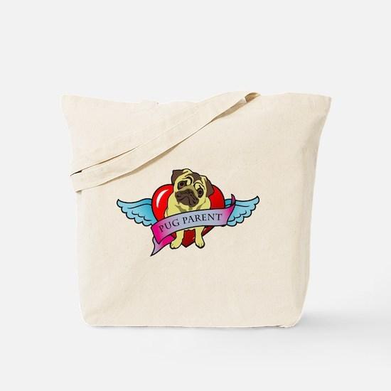 Pugs Banner Heart & Wings - P Tote Bag