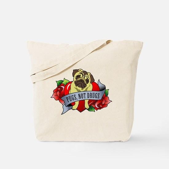 Pugs Banner Heart & Roses - P Tote Bag