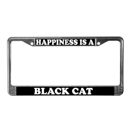 Happiness Is A Black Cat License Plate Frame