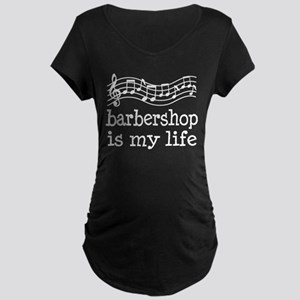 Barbershop Is My Life Gift Maternity Dark T-Shirt