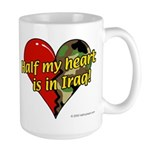 Half My Heart is in Iraq (NEW) Large Mug