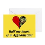 Half my heart is in Afghanistan Greeting Cards (Pa