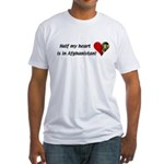 Half my heart is in Afghanistan Fitted T-Shirt