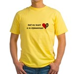 Half my heart is in Afghanistan Yellow T-Shirt