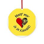 Half my heart is in Kuwait Keepsake (Round)