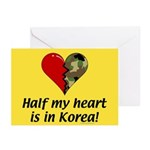 Half my heart is in Korea Greeting Cards (Package