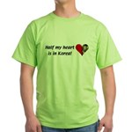 Half my heart is in Korea Green T-Shirt