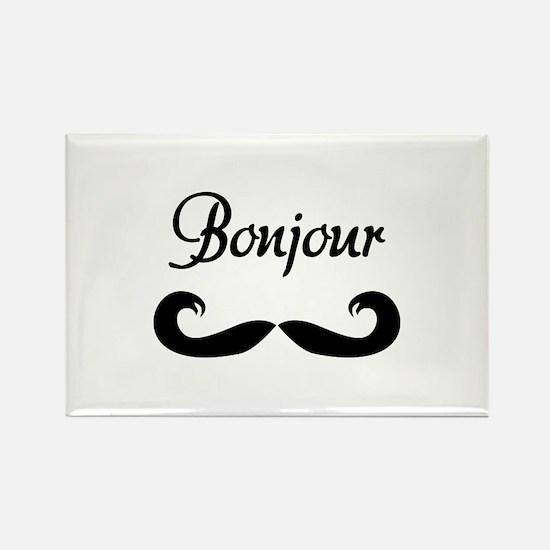 Bonjour Moustache Rectangle Magnet