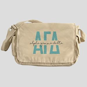Alpha Gamma Delta Polka Dots Messenger Bag