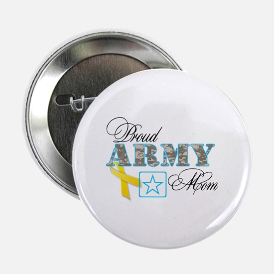 """Proud Army Mom w/Ribbon 2.25"""" Button"""