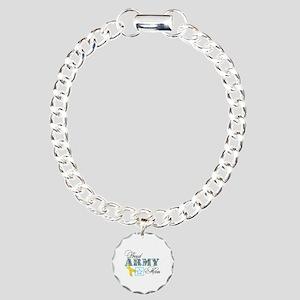 Proud Army Mom w/Ribbon Charm Bracelet, One Charm