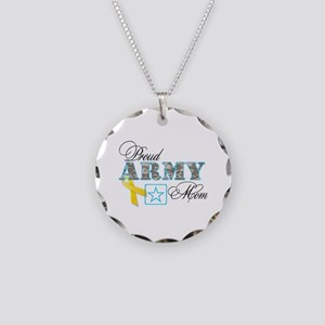 Proud Army Mom w/Ribbon Necklace Circle Charm